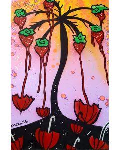 La Pupazza, L'albero delle fragole ombrelli, acrilico e spray su carta, 50x70 cm