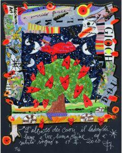 Francesco Musante, L'albero dei cuori, serigrafia materica, 20x25 cm