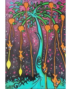 La Pupazza, L'albero dei mandarini pesciolini, acrilico e spray su carta, 50x70 cm