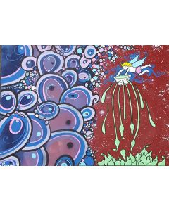 La Pupazza, L'angelo con lo scola verde, acrilico e spray su carta, 50x70 cm