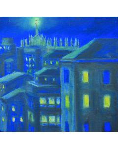 Andrea Ferrari Bordogna, La luce di Milano, olio su tavola, 22x22 cm