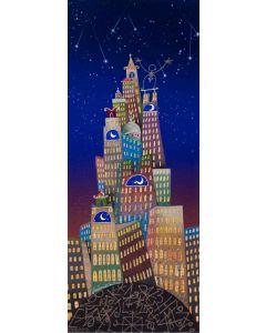 Meloniski da Villacidro, La notte di San Lorenzo nella metropoli sognata, tecnica mista su tela, 85x35 cm