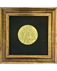 Salvador Dalì, Le arti- La poesia, incisione su bronzo placcato d'oro 24 KT, 17x17cm
