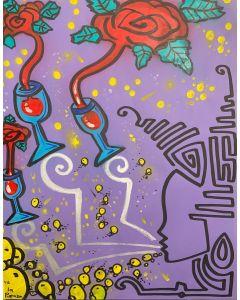 La Pupazza, Donna soffia il vino, acrilico e spray su carta, 50x70 cm