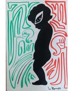 La Pupazza, Due linee continue con putto, grafica su PVC, 31X47 cm