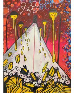 La Pupazza, I lampiopatatine, acrilico e spray su carta, 50x70 cm