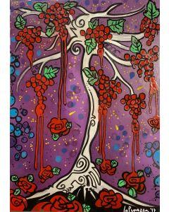 La Pupazza, L'albero di uva rossa, spray e acrilico su carta, 50x70 cm