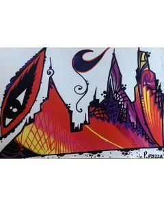La Pupazza, L'occhio sulla città, grafica su PVC, 31X47 cm