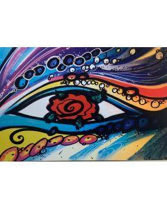 La Pupazza, L'occhio di rosa, grafica su PVC, 31X47 cm