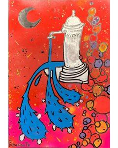 La Pupazza, La fontana che spruzza l'acquapala n°5, Spray e maker su carta, 21x30 cm