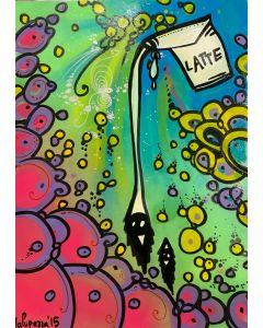La Pupazza, Latte di occhi, acrilico e spray su carta, 50x70 cm
