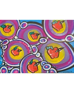 La Pupazza, Le mele con l'occhio, spray e acrilico su carta, 50x70 cm