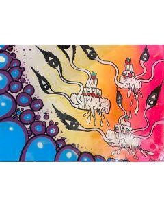 La Pupazza, Le torte occhi, spray e acrilico su carta, 50x70 cm