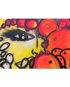 La Pupazza, Mezzo viso, spray e acrilico su carta, 50x70 cm