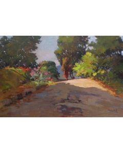 Angiolo Volpe, La strada, olio su tela, 70x50 cm