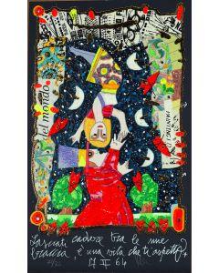 Francesco Musante, Lasciati cadere tra le mie braccia, serigrafia materica, 15x25 cm