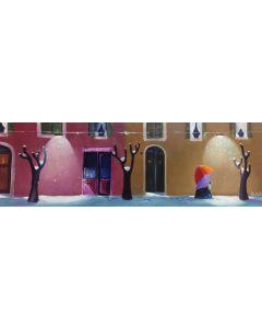 Anna Antola, Latteria, olio su tela, 60x20 cm