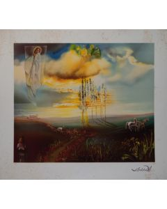 Salvador Dalì, Le chateau de Gala à Pùbol, litografia, 85x77 cm, 1988