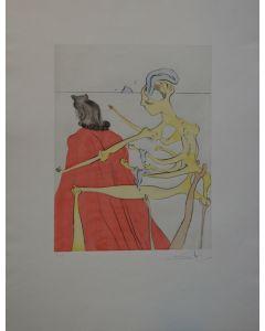 Salvador Dalì, Le Dos divin de Gala, incisione puntasecca acquerellata a mano, 50x66, 1974