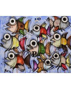 Yux, Le P, acrilico, pastelli a cera e manifesti su tela, 50x40 cm