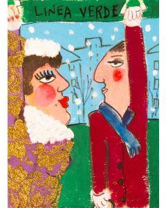 Anna Antola, Linea verde, tecnica mista su carta, 30x23 cm