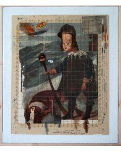 Enrico Pambianchi, Lo Stregone, tecnica mista su tela, 42x51 cm, 2013