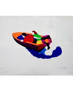 Marco Lodola, Motoscafo, sericollage su carta fatta a mano, 40x50 cm