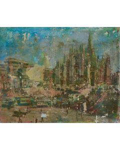 Loris di Falco, Greetings from Milan, tecnica mista, 40x50 cm