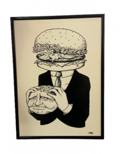 Loris Dogana, Burger Head, inchiostro su tavola, 50x60 cm