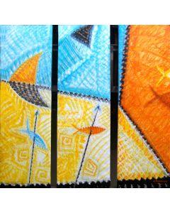 Cannaò, Lune e pesci, olio su tela (trittico), 100x99 cm, 2011
