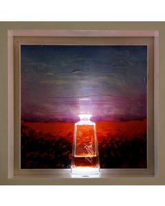 Andrea Morreale, Luogo della mente X, olio su tavola, cristallo, 2 dl Aperol, illuminazione a led con controllo acustico, 63x63x15 cm