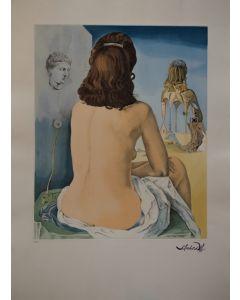 Salvador Dalì, Ma femme nue regardant son propre corps, devenir marches, trois vertèbres d'une colonne, ciel et architecture, acquaforte, 58x80, 1987