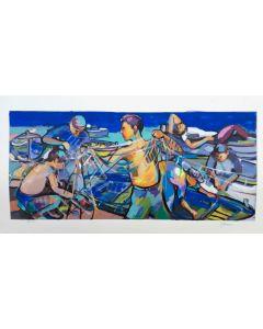 Claudio Malacarne, Pescatori, retouché, 60x100 cm