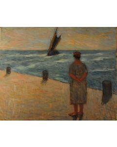 Giovanni Malesci, L'attesa, olio su tavola, 49x40,5 cm
