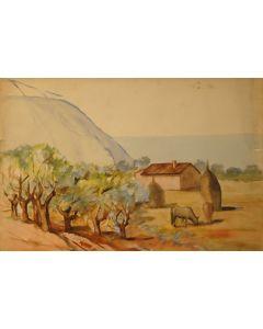 Giovanni Malesci, Covoni, olio su tavola, 34,5x50 cm