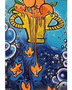 La Pupazza, Mandarini pesciolini, acrilico e spray su carta, 50x70 cm