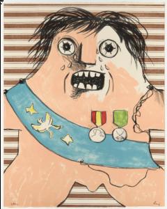 Enrico Baj, Il Maresciallo di Sassonia, litografia a colori, 56x45cm, 1965