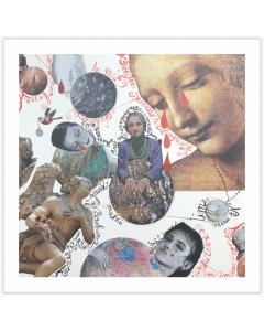 Maria Chiara Signorini, Malinconie cosmiche di grandi madri, collage e inchiostro su carta, 30x30 cm