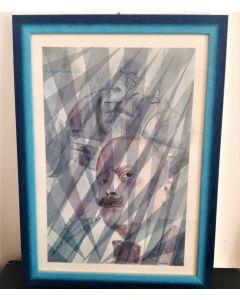 Oscar Morosini, Filippo Tommaso Marinetti, acquarello su carta,  26x36cm (con cornice)