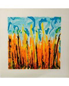 Mario Schifano, Campo di grano, litografia, 85x85 cm