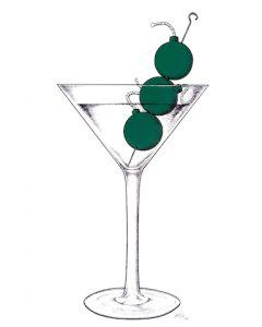 Loris Dogana, Martini on the Bombs, acrilico e marker su tavola Ikea, 60x100 cm