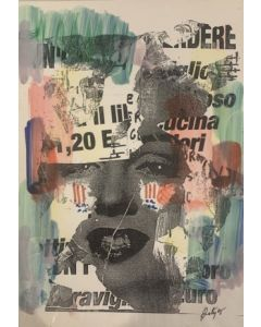 Marilyn Monroe, disegno e collage con strappi, 21x30 cm