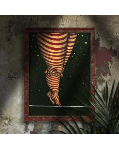 Aria Carelli, Passi d'oro, china e acrilici su carta mista a cotone, filo materico in lana, 26x34cm (con cornice), 2020