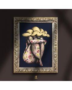 Aria Carelli, Nuvolo, china e colori acrilici su carta decorata, 19x24 cm (con cornice), 2020