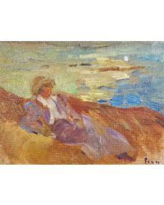 Daniela Penco, Meditando, olio su cartone telato, 9x12 cm