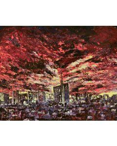 Pier Luca Bencini, Milano sunset, acrilico su tavola, 80x100 cm