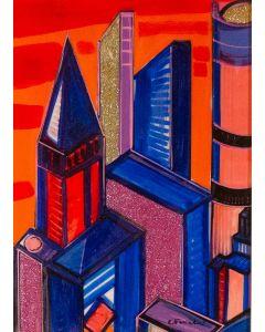 Carlo Massimo Franchi, Milano Vola Alto, tecnica mista su plexiglass opalino, 53x36 cm