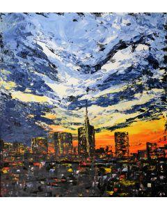 Pier Luca Bencini, Milanoscape, acrilico su tavola, 90x80 cm