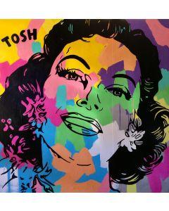 Andrew Tosh, Millenovecentosessantatre, tecnica mista su tela, 140x140 cm