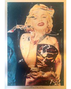 """Mimmo Rotella, Bellezza Eterna """"Ultimo Atto d'Amore"""", Serigrafia polimaterica su lastra oro 24 carati, 33x23 cm"""